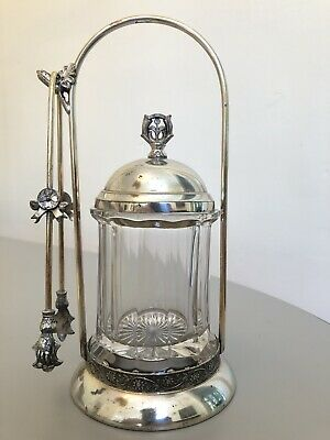 Ornate Pickle Castor with Decorative Glass Jar, Hand Tongs - Silver Plated