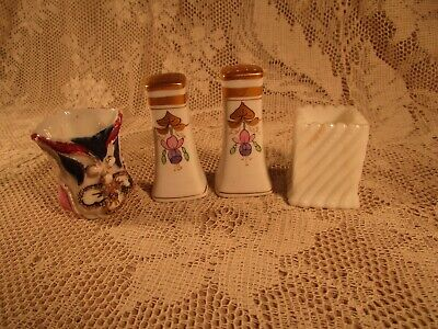 Antique Pair Porcelain Pickard S & P & 2 Toothpick Holders
