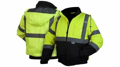 Hi-Vis Insulated Safety Bomber Road Work Reflective Jacket HIGH VISIBILITY M-5XL