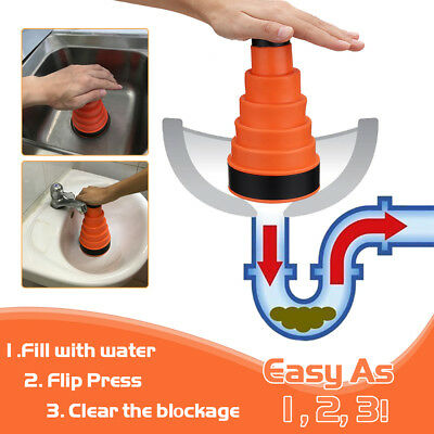 Clog Cannon Air Power Drain Blaster Manual Toilet Kitchen Plunger Sink Cleaner