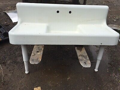 "1926 American Standard Cast Iron porcelain farm sink 60 x 22"" Antique 6ft w Legs"