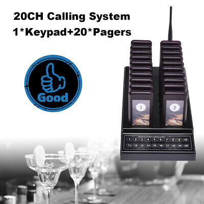 Wireless Paging Calling System 20CH Keypad 1 Transmitter+20 Call Coaster Pagers