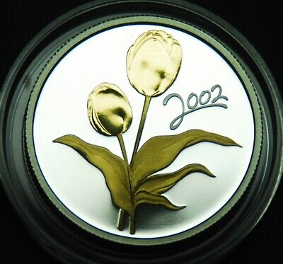 2002 50¢ proof - gold plated silver - Golden Tulip - from Golden Flowers series