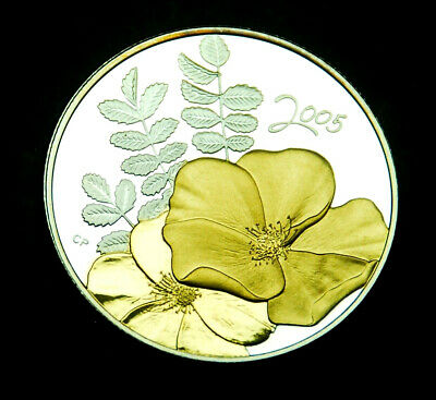 2005 50¢ proof - gold plated silver - Golden Rose - from Golden Flowers series
