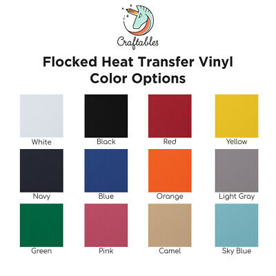 Craftables Flocked Iron on Heat Transfer HTV Vinyl for T shirts, Cricut, Silhoue