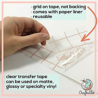 "Craftables 12"" x 10' Premium Transfer Tape with release liner and Grid for vinyl"
