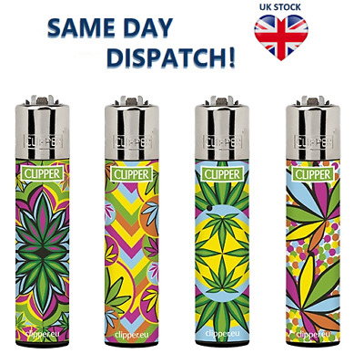 4 x CLIPPER LIGHTERS FLUO LEAVES 2 Design Original Size Gas Flint Refillable NEW