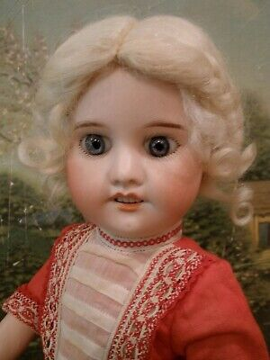 """Antique 14"""" French bisque socket head doll, original body & clothes"""