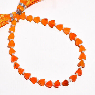 """26.3 Ct. Natural Carnelian Gemstone Trillion Faceted Beads String 7"""""""