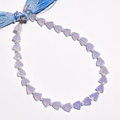 30.05 Ct. Natural Chalcedony Gemstone Trillion Faceted Beads String 7""