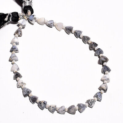 """24.35 Ct. Natural Dendrite Opal Gemstone Trillion Faceted Beads String 7"""""""