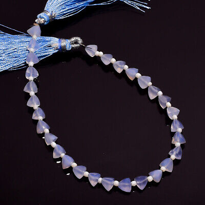 26.85 Ct. Natural Chalcedony Gemstone Trillion Faceted Beads String 7""