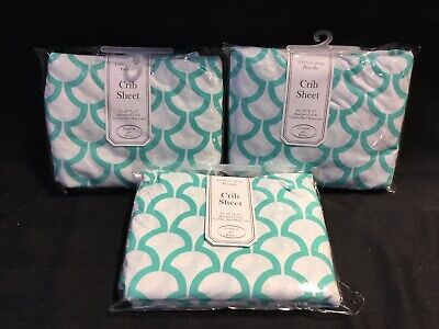 3 Pack American Baby Company 100% Natural Cotton Percale Fitted Crib Sheet (X3)