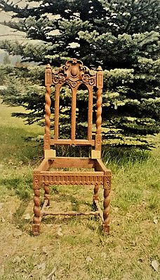 Set of four Antique English / Jacobean Chairs, Fumed Oak