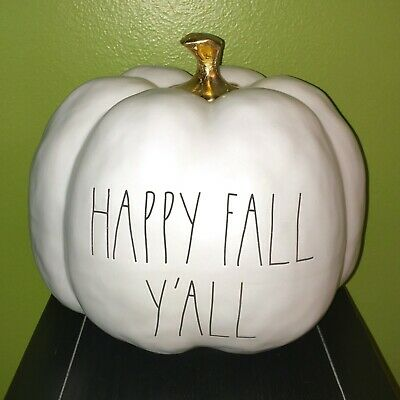 """New RAE DUNN LL """"HAPPY FALL Y'ALL"""" Large Pumpkin With Gold Stem By Magenta"""