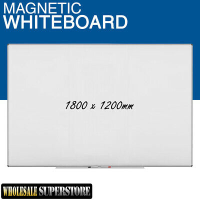 WHITEBOARD 1800 x 1200mm Magnetic Commercial Quality Board Office Eraser Marker
