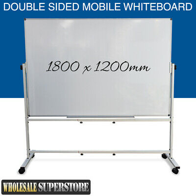 MOBILE WHITEBOARD 1800 x 1200mm Magnetic Double Sided Commercial Quality + STAND