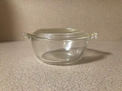 Vintage Pyrex 018 Clear Glass Mini Round Casserole With Lid, 10 oz.