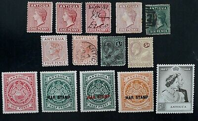 RARE 1872- Antigua lot of 14 Postage Stamps Mint & Used