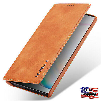 Leather Wallet Magnet Cover Thin Slim Case For Samsung Galaxy Note 8/9 10 Plus