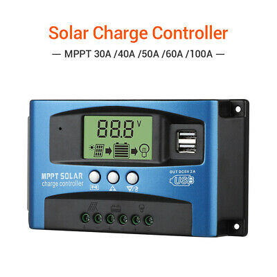 30-100A LCD Display MPPT Solar Controller 12V/24V Charger Auto Focus Tracking