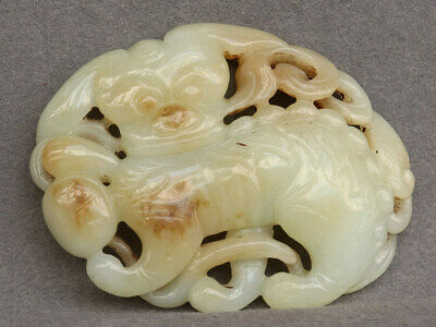 Chinese Exquisite Hand-carved Mythical beast Carving Hetian jade statue