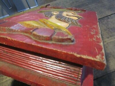 Antique Hand Carved Book Box Don Quixote Folk Art Hand Painted