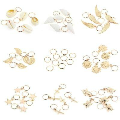 hot 50Pcs Gold Shell Snowflake Pendant Rings Hair Clip Accessories for Braid UK