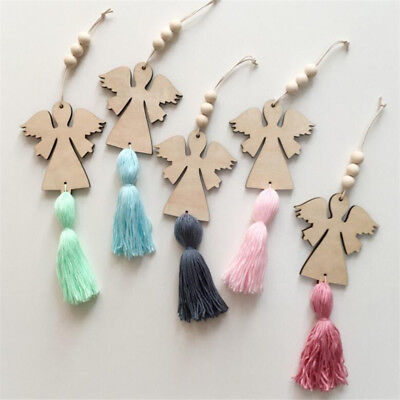 Wooden Angel Bead String Tassel Wall Hanging Kids Room Tent Curtain Decor Crafts