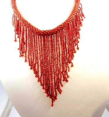 Vintage Style Boho Treated Coral Beads Thread Necklaces Jewelry W14 (46)
