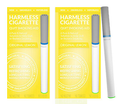 Harmless Cigarette Natural Stop Smoking Aid Satisfying Lemon Flavored 2 Pack