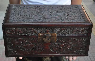 """14"""" Old Chinese Huanghuali wood carving Dragon statue Jewelry Box"""