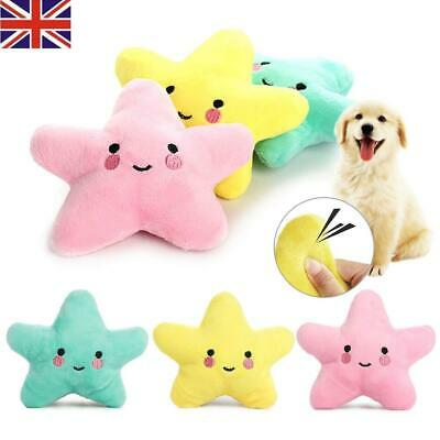 NEW Pet Dog Puppy Star Chew Toy Squeaker Squeaky Soft Plush Play Sound Toys
