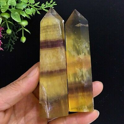 308g Natural Rainbow Yellow Fluorite Wand Single Point Quartz Crystal Polished