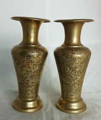 Pair of Beautiful Vintage Middle Eastern Brass Vases (Height - 15 cm)