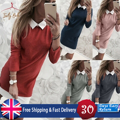 UK Womens Knit Sweater Mini Dress Casual Solid Color Plus Size Fake 2Piece Shirt