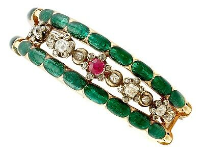 Antique 2.86ct Diamond and Synthetic Ruby, Enamel and 18k Yellow Gold Bangle