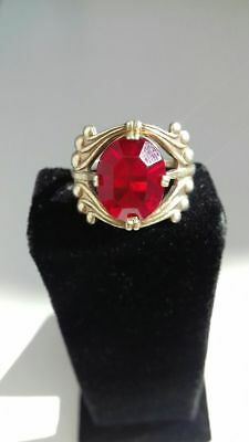 Vintage silver ring 875 test star USSR with red stone 3.98g, 18.8mm   Silber