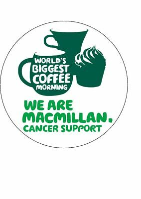 "7.5""  Macmillan Cancer Support Coffee Morning PRE-CUT ICING DISC Cake Topper"