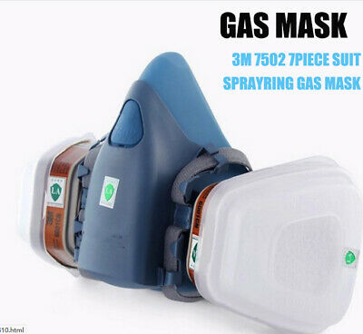 3M 7502 7 Piece Suit Half Face Gas Mask Respirator Painting Spraying Face Dust
