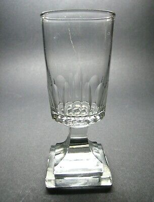 Georgian or Victorian Hand Blown Glass Square Footed Rummer
