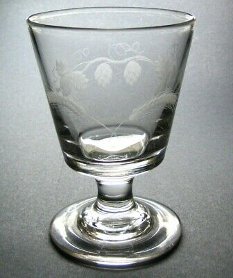 Georgian c.1790 Hand Blown Etched Hop Barley Large Antique Rummer Drinking Glass