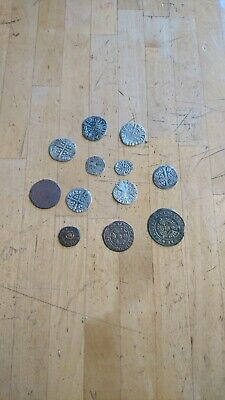Lot Of Medieval Silver Hammered Coins & Others Found Metal Detecting Wilts U.K