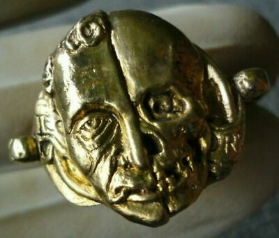 Antique Silver Ring Georgian Victorian Inlaid 24K GOLD Plate Memento Mori Skull