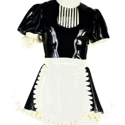 New Latex 100% Rubber Black with White kleid Uniform Set Kostüm Latexanzug S-XXL