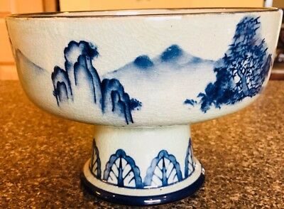 Kutani Blue & White Frederick Cooper Lamps Landscape Large Footed Bowl Mint