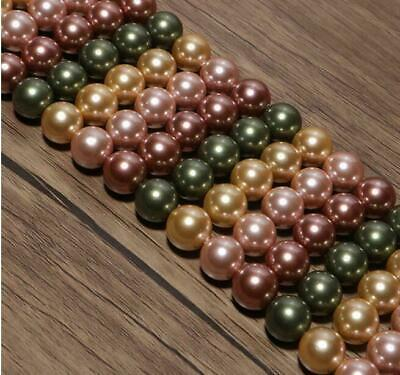 4/6mm/8mm/10mm Pretty Multicolor shell pearl round loose beads long 15''