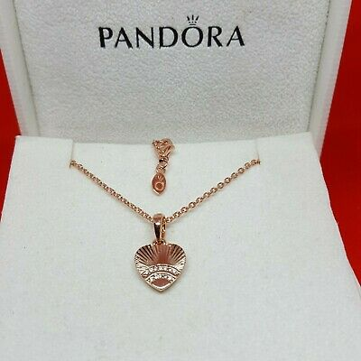 Pandora Rose Gold Fan of Love Charm Necklace