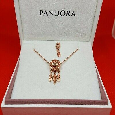 Pandora Rose Gold Spiritual Dream Catcher Charm Necklace