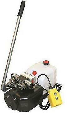 Flowfit 12V DC Double Acting Hydraulic Power pack, 8L Tank & Hand pump ZZ005136